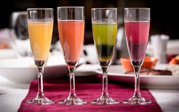 разноцветный, коктейль, напитки, бокалы