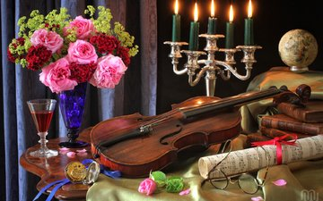 candles, roses, notes, violin, glasses, books, watch, glass, bouquet, globe, still life