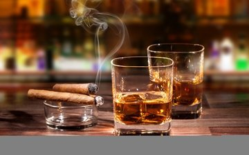 drink, smoke, glasses, alcohol, cigars, whiskey