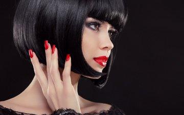 стиль, девушка, портрет, черное, макияж, прическа, красное