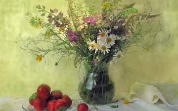 summer, strawberry, chamomile, bouquet, berries, pitcher, cornflower, still life, lupin