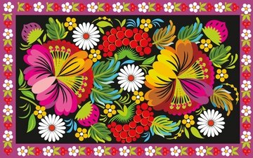 flowers, pattern, ornament, berries, painting, folk