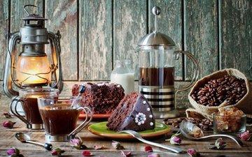 кофе, фонарь, кофейные зерна, торт, натюрморт, изюм