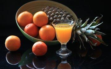 фрукты, бокал, апельсин, натюрморт, ананас, сок