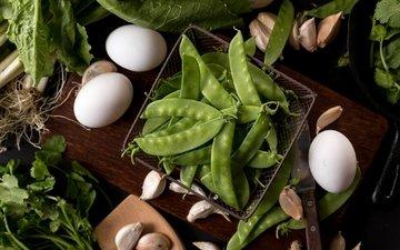 зелёный, яйца, горох, салат, чеснок, петрушка