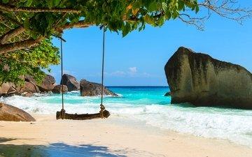 деревья, скалы, море, песок, пляж, лето, отдых, качели, отпуск