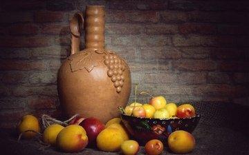 фон, фрукты, черешня, ягоды, кувшин, натюрморт, абрикосы