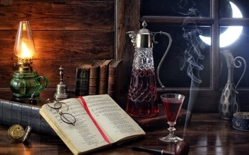 notes, the moon, glasses, lamp, smoke, watch, glass, window, wine, tube, book, still life, decanter, bell