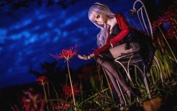 ночь, цветок, стул, лилия, кукла, чулки