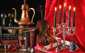 candles, notes, violin, glasses, books, glass, wine, still life, bell, coffee pot