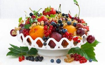 фрукты, клубника, абрикос, ягоды, вишня, черника, смородина, крыжовник, нектарин, слива