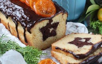 звезда, шоколад, мандарин, выпечка, глазурь, кекс