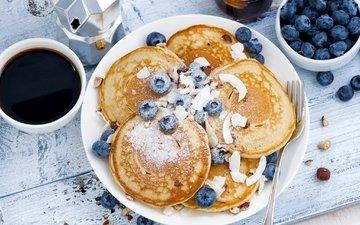 кофе, завтрак, оладьи, голубика, панкейк