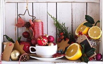 лимон, игрушки, шишка, праздник, натюрморт, нитки, падуб