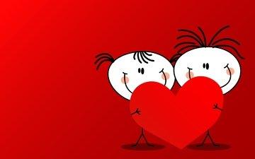 девочка, человечки, сердца, мальчик, день влюбленных