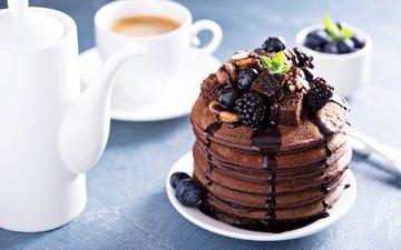 мята, орехи, кофе, ягоды, блинчики, блины, ежевика, голубика, шоколадный, панкейк