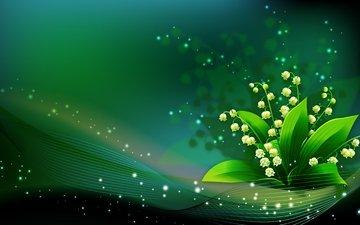 арт, рисунок, зелёный, ландыши