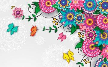 flowers, pattern, butterfly