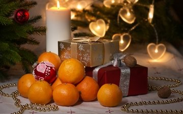 gifts, spruce, toys, candle, holiday, tangerines, box