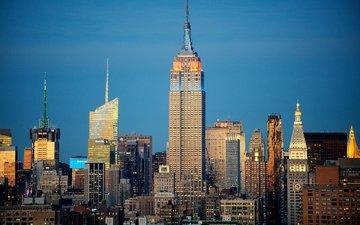 небо, вечер, дома, сша, нью-йорк, небоскрёб