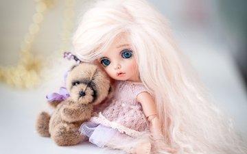 кукла, волосы, игрушки, медвежонок