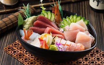 рыба, морепродукты, креветки, огурец, лосось, тунец