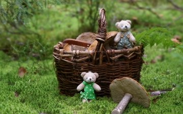 лес, грибы, корзина, игрушки, медвежата