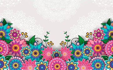 flowers, pattern, bright