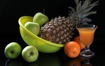 фрукты, апельсин, яблоко, натюрморт, ананас, сок