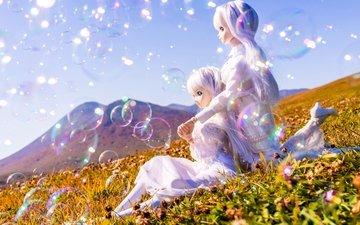 солнце, настроение, лето, девушки, луг, мыльные пузыри, куклы