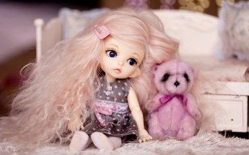 девочка, кукла, волосы, игрушки, медвежонок