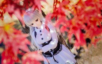 листья, грусть, осень, кукла
