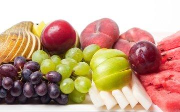 виноград, фрукты, арбуз, яблоко, персик, груша, дыня, слива
