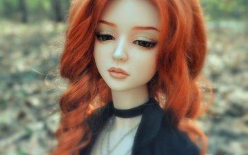 грусть, рыжая, кукла, волосы