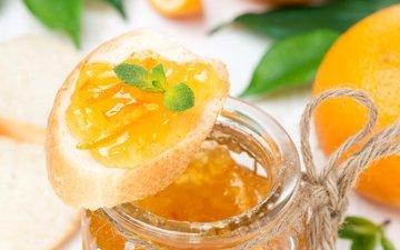 мята, джем, хлеб, багет, оранжевый, апельсин, варенье