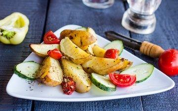 овощи, помидоры, перец, картофель, огурец