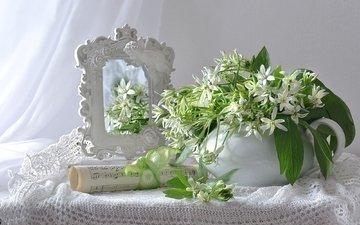 flowers, notes, mirror, white, tenderness, still life