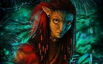 girl, portrait, rendering, avatar, neytiri, being, braids
