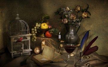 текстура, виноград, розы, фрукты, бокал, птица, букет, перья, вино, свеча, ракушка, клетка, книга, натюрморт, гранат, хурма, айва