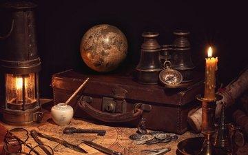 винтаж, ретро, очки, карта, фонарь, глобус, свеча, компас, монеты, чемодан, натюрморт, путешествие, бинокль, циркуль