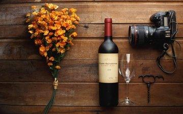 flowers, the camera, glass, wine, bottle, still life, corkscrew