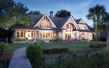 дизайн, дом, здание, газон, особняк