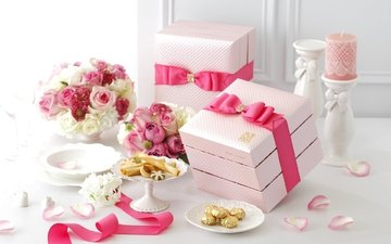 flowers, roses, petals, bouquet, pink, tape, candle, cookies, bow, box, decor