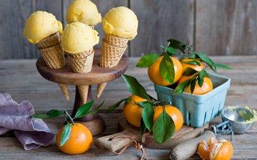 мороженое, фрукты, рожок, мандарины, вафли, вафельный рожок