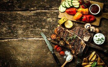 дерево, доска, стол, кукуруза, мясо, нож, помидор, перец, соус, огурец