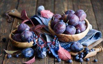 фрукты, стол, ягоды, черника, натюрморт, миска, слива