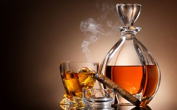 background, smoke, ice, ashtray, wine, glass, cognac, cigar, decanter