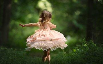 природа, настроение, платье, девочка, танец