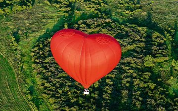 пейзаж, полет, сердце, корзина, воздушный шар