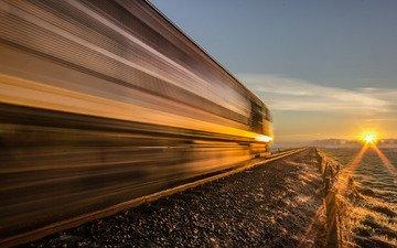 дорога, закат, поезд, локомотив